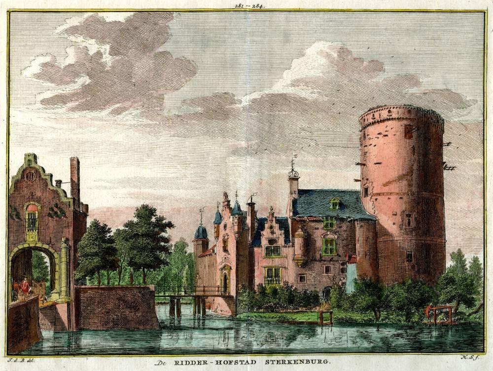 Kasteel Sterkenburg in Werkhoven. Tekening Jan de Beijer, gravure Hendrik Spilman (Uit: Het Verheerlykt Nederland, Isaac Tirion, 1745/1774)
